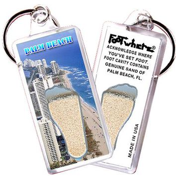Palm Beach, FL FootWhere® Souvenir Key Chain. Made in USA