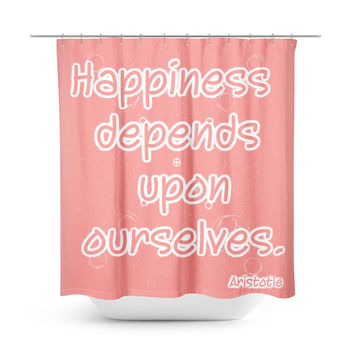 Happiness Peach Shower Curtain