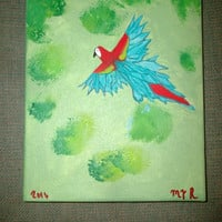 Beautiful Parrot Over the Jungle Red White and Blue Bird Wrapped Canvas Acrylic Wall Art Nature Lover