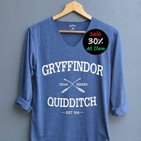Gryffindor Quidditch Shirts V-Neck Navy Blue Unisex Adult Size S M L