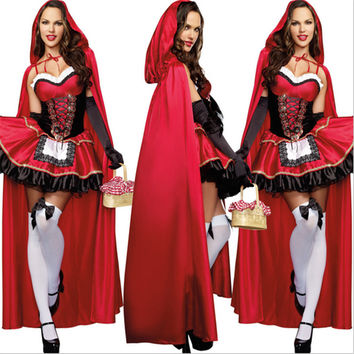 2016 new high quality Little Red Riding Hood Costume Deluxe embroidery Red Sexy dress cosplay Party Halloween Costumes for Women