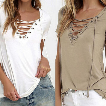 V-Neck  Strappy  Short Sleeve Shirt Top Tee