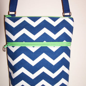 Navy Blue White Chevron Small Zipper Hipster/Shoulder/Crossbody Bag/Purse/Kindle/Nook/I Pad Mini Holder