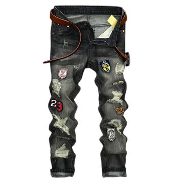 High Quality Mens Ripped Biker Jeans 100% Cotton Slim Fit Motorcycle Jeans Men Vintage Distressed Hole Denim Hip hop Jeans LY163