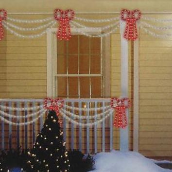 Christmas Decoration - 2 Clear Swags And 1 Red Bow
