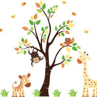 "Orange Colored Animal Decals, Orange Themed Nursery Decor, Orange Animal Wall Stickers, Large Tree Decal, Nursery Wall Decals - 63"" x 57"""