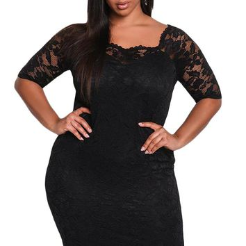 Black Plus Size Floral Lace Bodycon Dress