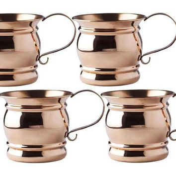 4 H Solid Copper Moscow Mule Mug with Flat Handle 16 oz - Set of 4