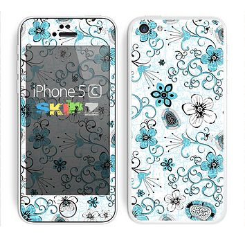 The Abstract Blue & Black Seamless Flowers Skin for the Apple iPhone 5c