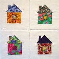 Scrappy Little Houses Appliqued Quilt Blocks