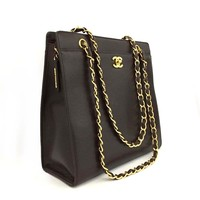 CHANEL CC Logo Caviar Skin Chain Shoulder Tote Bag Brown /p253