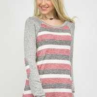 Cozy Stripes Elbow Patch Top