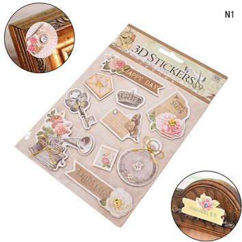 3D Adhesive Stickers Ornament DIY Scrapbooking Photo Album Diary Vintage European Wedding Deocrative Craft Home Supplies 1PC