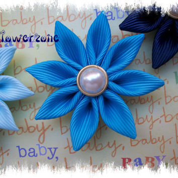 2 Baby Kanzashi Flowers - Grosgrain Ribbon Flowers - Flower Ribbon Sculptures - Flowers - Flower Clippies - Ribbon Flowers -Hair accessories