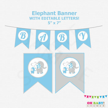 Blue Elephant Baby Shower Banner, Editable Banner, Elephant Birthday Banner, Printable Elephant Baby Shower Birthday Party Decorations ELLBG