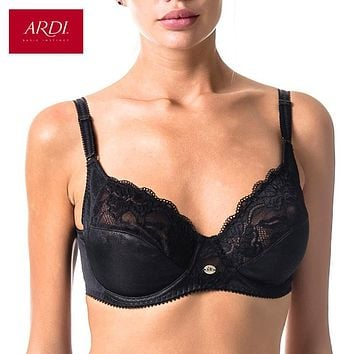 Woman's Bra Lace Black Soft Cup Cotton Lining Large Size Big Breast Support 80 85 90 95 100 C D E ARDI Free Delivery R1710-15