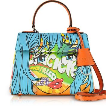 Moschino Juicicle Comic Girl Orange Eco Leather Satchel Bag w/Shoulder Strap