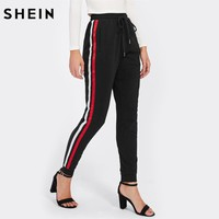SHEIN Satin Ribbon Sideseam Skinny Sweatpants Elastic High Waist Women Trousers Black Drawstring Waist Casual Sweatpants