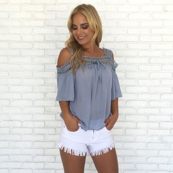 In the Clouds Blouse in Powder Blue
