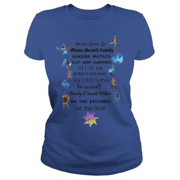 Never grow up Ohana mean family hakuna matata Disney shirt Premium Fitted Ladies Tee