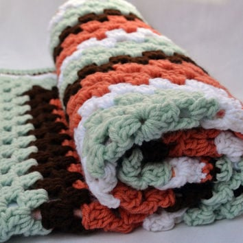 Sunset Safari crochet baby blanket, granny square reversible crochet baby blanket
