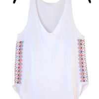 Womens White Loose V-neck Tank Top- Summer Tank Top-Large Embroidered Multicolored Cross Stitch-Girls White Summer Tank-Cross Stitch