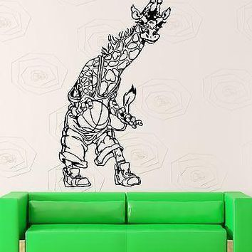 Wall Stickers Vinyl Decal Giraffe Basketball Animal Nursery Kids Room Unique Gift (ig1756)