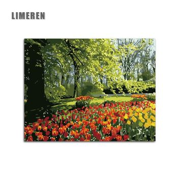 Tulips Spring Landscape Hand Painted DIY Pictures Canvas Coloring By Number Adults Painting By Numbers For Unique Gift Wall Art