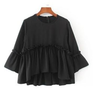 'Eliza' Peplum Flare Sleeve Blouse ( 2 Colors Available )