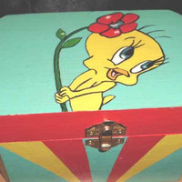 Tweety Bird Painted Accessory Box, Fun Bright Colors