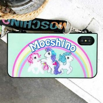 MOSCHINO Fashionable Women Rainbow Pony Polly Soft Mobile Phone Cover Case For iphone 6 6s 6plus 6s-plus 7 7plus 8 8plus X XsMax XR