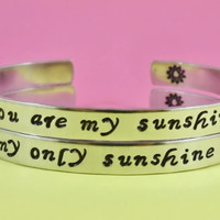 You are my sunshine/ My only sunshine - Mother Daughter Bracelets, Hand Stamped Bracelets Set, Forever Love, Script Lowercase, V2