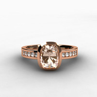 Cushion morganite engagagement ring, diamond ring, pink morganite, bezel, rose gold, morganite wedding ring, solitaire, rose gold engagement