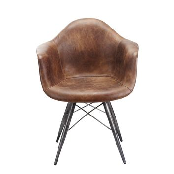 Flynn Industrial Mid Century Club Chair - Light Brown Full Distressed Leather