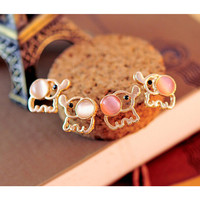 Baby Elephant Opal Stud Earrings // THE ELEPHANT