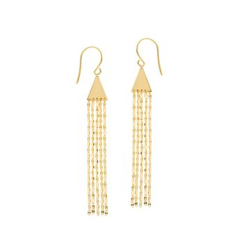 14K Yellow Gold Tassel Drop Earrings
