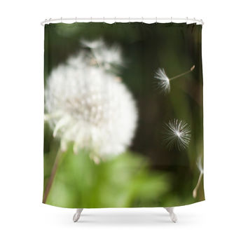 Society6 Photo Of Dandelion Seeds Blowing Away Shower Curtain