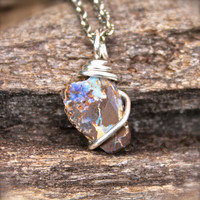 Boulder Opal Necklace - Natural Rough Opal Jewelry - Raw Stone Jewelry - October Birthstone Necklace - Gypsy Boho Jewelry Bohemian Necklace