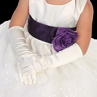 Satin Long Elbow Length Gloves Formal or Dress Accessory (Girls 4T - Size 12)