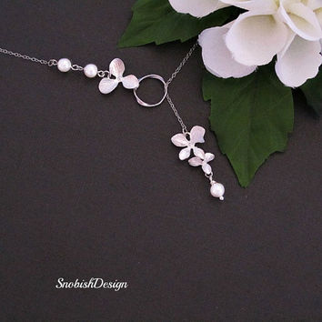 Orchid Jewelry Swarovski Pearl Sterling Silver by SnobishDesign