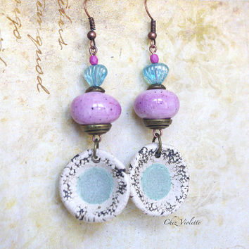pink artisanal bead earring , dangle earring , pastel earring , pink turquoise jewelry , ceramic earrings