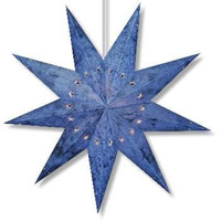Handmade Paper Star Lantern - Batik Blue 9 Point