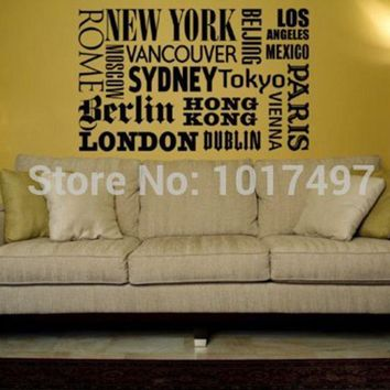 New York London Paris Quote wall sticker World City Names Vinyl wall decal art DIY home office decoration free shipping