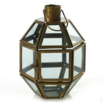 "Antique Gold Geometric Terrarium or Candle Lantern - 4"" L x 3.75"" W x 5.75"" H"