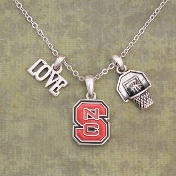 NC State Wolfpack Slam Dunk 3 Charm Iridescent Basketball Necklace