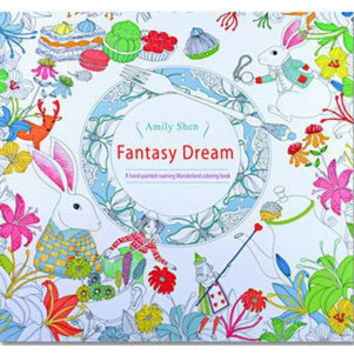 24 Pages Drawing Book Fantasy Dream English Edition Adult Coloring Book
