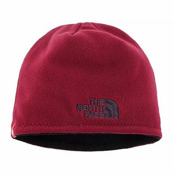The North Face 2018 winter new men and women wool hat earmuffs knit hat Burgundy