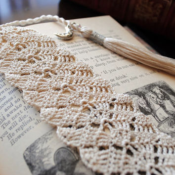 Crochet lace bookmark with a long tassel, ecru, moon charm