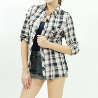 Woven long roll up sleeve plaid shirt Ivory/brown