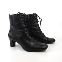 Ankle Boots Black Leather Vintage 1990s Etienne Aigner Women's size 7 1/2 M
